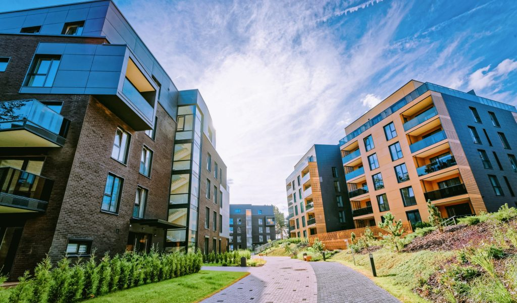 Vilnius, Lithuania - October 1, 2016: Modern architectural complex of apartment residential buildings quarter. And outdoor facilities.